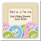 Cute As a Button - Square Personalized Baby Shower Sticker Labels
