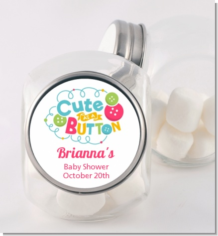 Cute As Buttons - Personalized Baby Shower Candy Jar