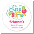 Cute As Buttons - Round Personalized Baby Shower Sticker Labels thumbnail