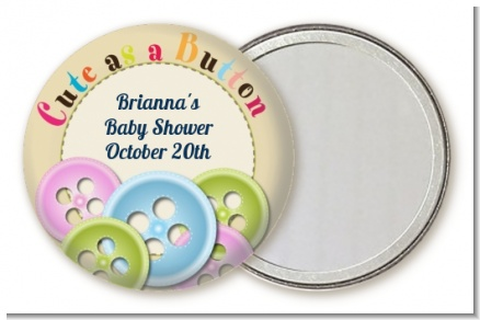 Cute As a Button - Personalized Baby Shower Pocket Mirror Favors