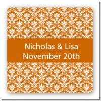Damask Pattern - Square Personalized Bridal Shower Sticker Labels