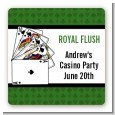 Casino Night Royal Flush - Square Personalized Birthday Party Sticker Labels thumbnail