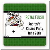 Casino Night Royal Flush - Square Personalized Birthday Party Sticker Labels