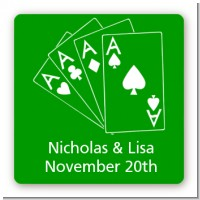 Deck of Cards - Square Personalized Bridal Shower Sticker Labels