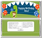Dinosaur and Caveman - Personalized Birthday Party Candy Bar Wrappers