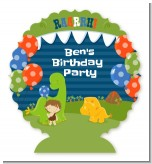 Dinosaur and Caveman - Personalized Birthday Party Centerpiece Stand