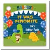 Dinosaur and Caveman - Personalized Birthday Party Card Stock Favor Tags