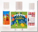 Dinosaur and Caveman - Personalized Birthday Party Hand Sanitizers Favors