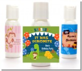 Dinosaur and Caveman - Personalized Birthday Party Lotion Favors