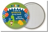 Dinosaur and Caveman - Personalized Birthday Party Pocket Mirror Favors