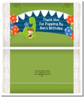 Dinosaur and Caveman - Personalized Popcorn Wrapper Birthday Party Favors