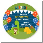 Dinosaur and Caveman - Round Personalized Birthday Party Sticker Labels