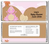 Dinosaur Baby Girl - Personalized Baby Shower Candy Bar Wrappers