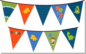 Dinosaur and Caveman - Birthday Party Themed Pennant Set