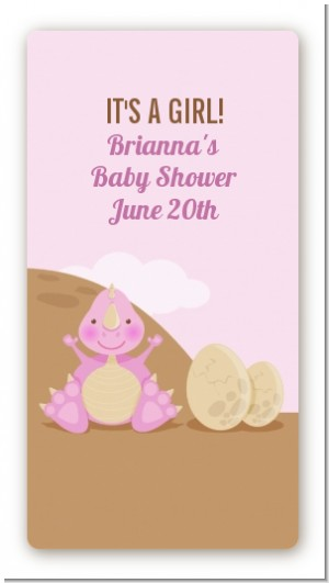 Dinosaur Baby Girl - Custom Rectangle Baby Shower Sticker/Labels