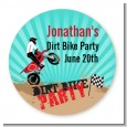 Dirt Bike - Round Personalized Birthday Party Sticker Labels thumbnail