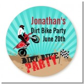 Dirt Bike - Round Personalized Birthday Party Sticker Labels