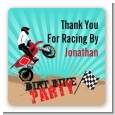 Dirt Bike - Square Personalized Birthday Party Sticker Labels thumbnail