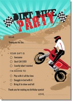 Dirt Bike - Birthday Party Fill In Thank You Cards