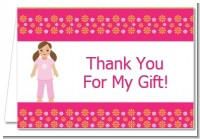 Doll Party Brunette Hair - Birthday Party Thank You Cards