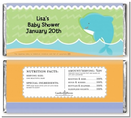 Dolphin | Aquarius Horoscope - Personalized Baby Shower Candy Bar Wrappers