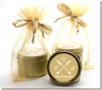 Double Arrows - Bridal Shower Gold Tin Candle Favors