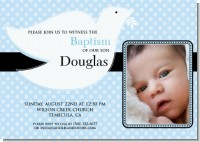 Dove Blue Baptism Photo - Baptism / Christening Invitations