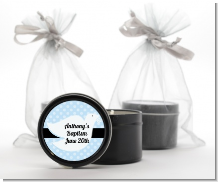 Dove Blue - Baptism / Christening Black Candle Tin Favors
