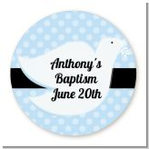 Dove Blue - Round Personalized Baptism / Christening Sticker Labels