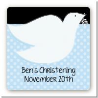 Dove Blue - Square Personalized Baptism / Christening Sticker Labels