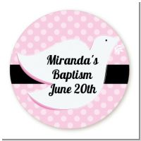 Dove Pink - Round Personalized Baptism / Christening Sticker Labels
