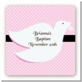 Dove Pink - Square Personalized Baptism / Christening Sticker Labels