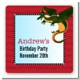 Dragon and Vikings - Square Personalized Birthday Party Sticker Labels thumbnail