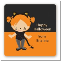 Dress Up Kitty Costume - Square Personalized Halloween Sticker Labels