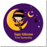 Dress Up Witch Costume - Round Personalized Halloween Sticker Labels