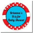 Dr. Seuss Inspired - Round Personalized Baby Shower Sticker Labels thumbnail