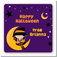 Dress Up Witch Costume - Square Personalized Halloween Sticker Labels