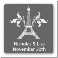 Eiffel Tower - Square Personalized Bridal Shower Sticker Labels