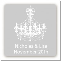 Elegant Chandelier - Square Personalized Bridal Shower Sticker Labels