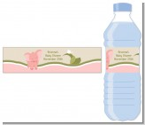 Elephant Baby Pink - Personalized Baby Shower Water Bottle Labels