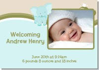 Elephant Baby Blue - Birth Announcement Photo Card