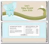 Elephant Baby Blue - Personalized Baby Shower Candy Bar Wrappers
