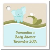 Elephant Baby Blue - Personalized Baby Shower Card Stock Favor Tags