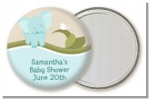 Elephant Baby Blue - Personalized Baby Shower Pocket Mirror Favors