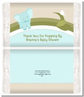 Elephant Baby Blue - Personalized Popcorn Wrapper Baby Shower Favors