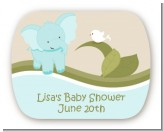 Elephant Baby Blue - Personalized Baby Shower Rounded Corner Stickers