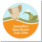 Elephant Baby Neutral - Round Personalized Baby Shower Sticker Labels