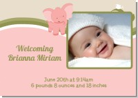 Elephant Baby Pink - Birth Announcement Photo Card