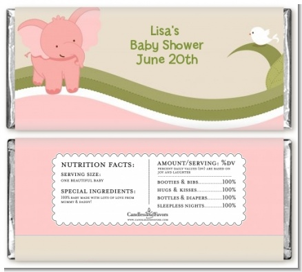 Elephant Baby Pink - Personalized Baby Shower Candy Bar Wrappers