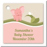 Elephant Baby Pink - Personalized Baby Shower Card Stock Favor Tags